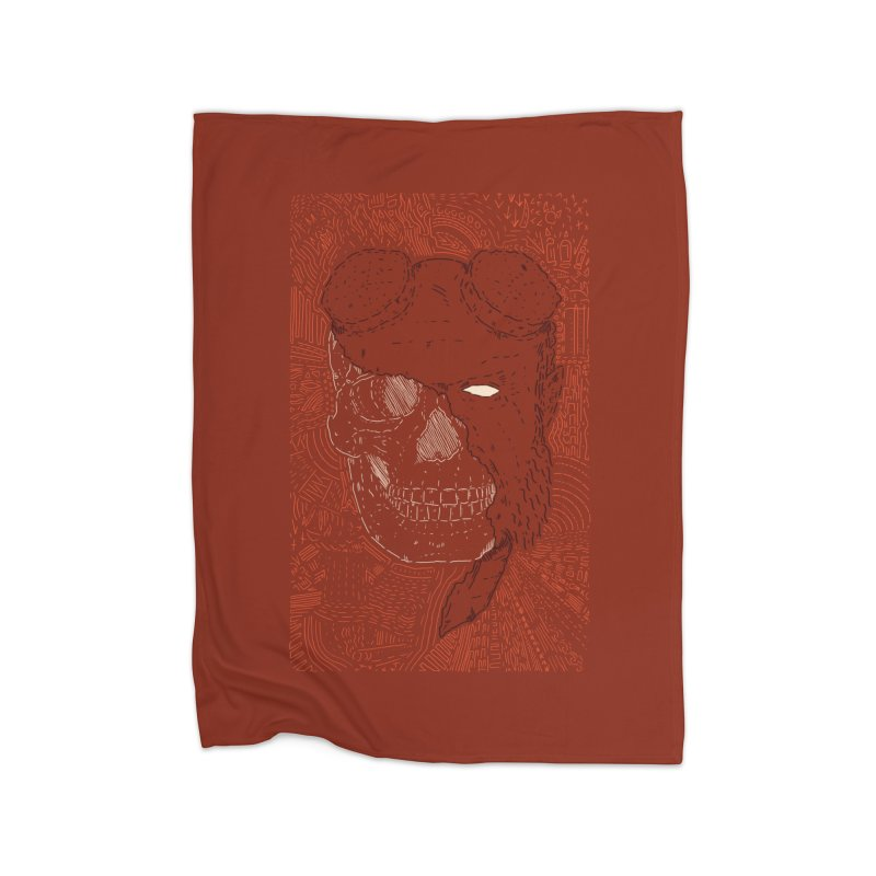 Hades Man Skull Home Fleece Blanket Blanket by Krist Norsworthy Art & Design