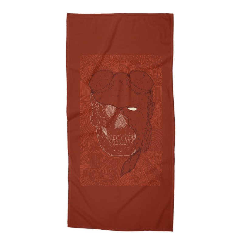 Hades Man Skull Accessories Beach Towel by Krist Norsworthy Art & Design