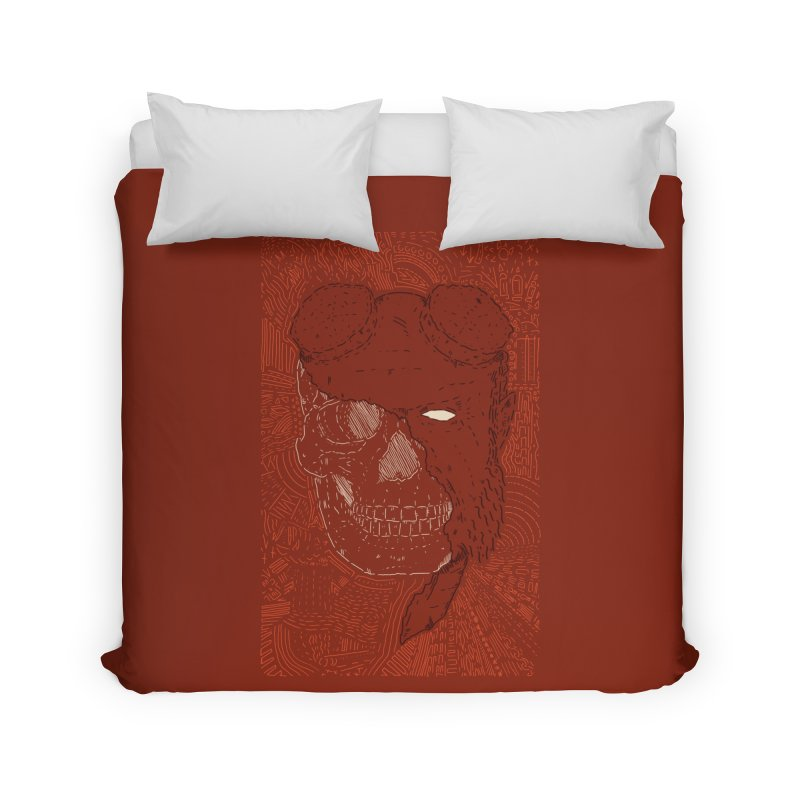 Hades Man Skull Home Duvet by Krist Norsworthy Art & Design