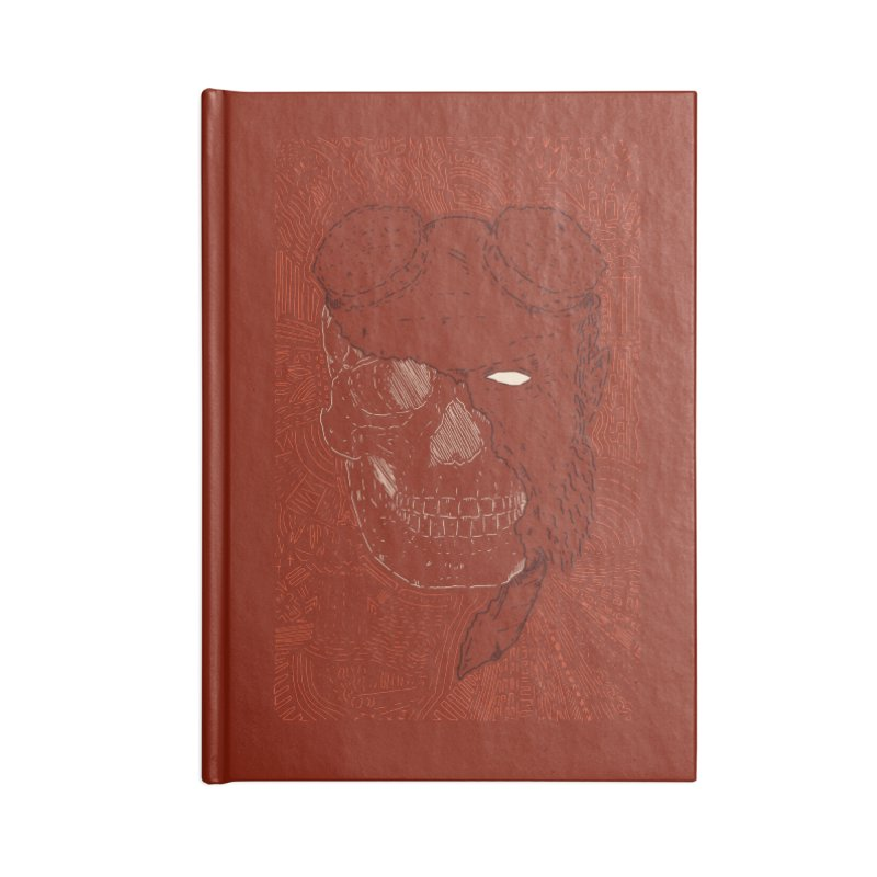 Hades Man Skull Accessories Lined Journal Notebook by Krist Norsworthy Art & Design