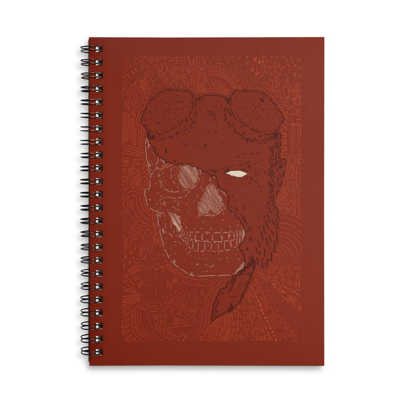 Hades Man Skull Accessories Lined Spiral Notebook by Krist Norsworthy Art & Design