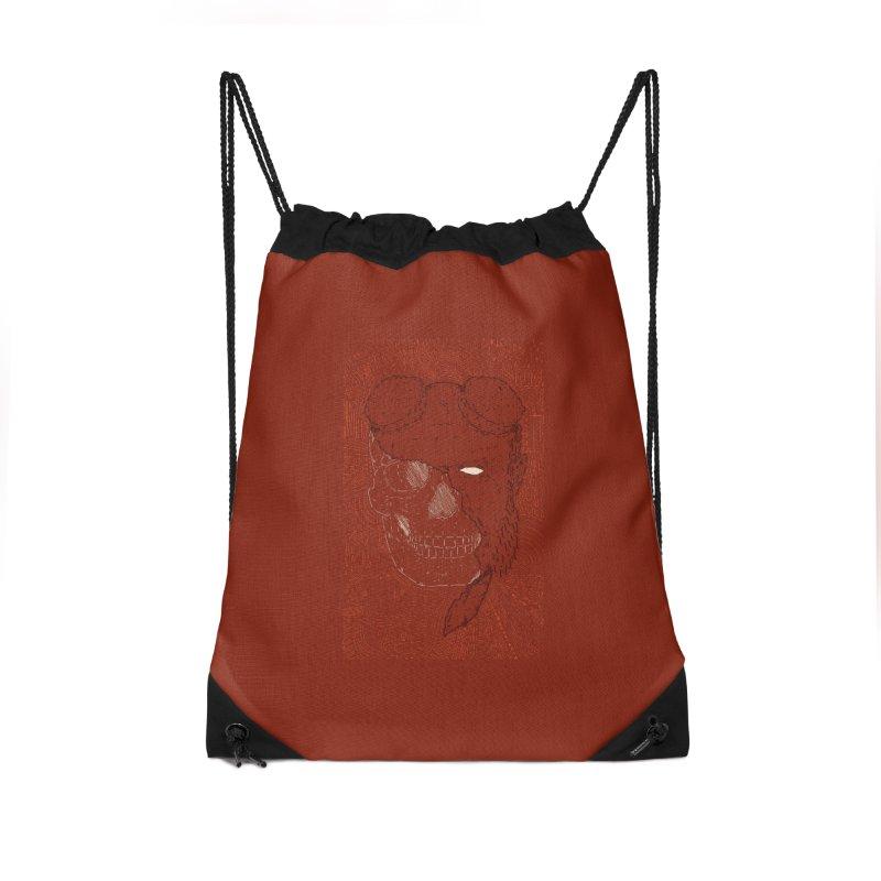 Hades Man Skull Accessories Drawstring Bag Bag by Krist Norsworthy Art & Design