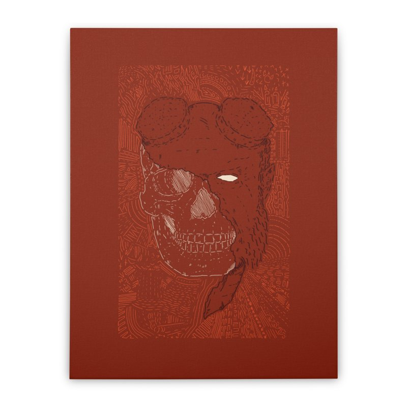 Hades Man Skull Home Stretched Canvas by Krist Norsworthy Art & Design