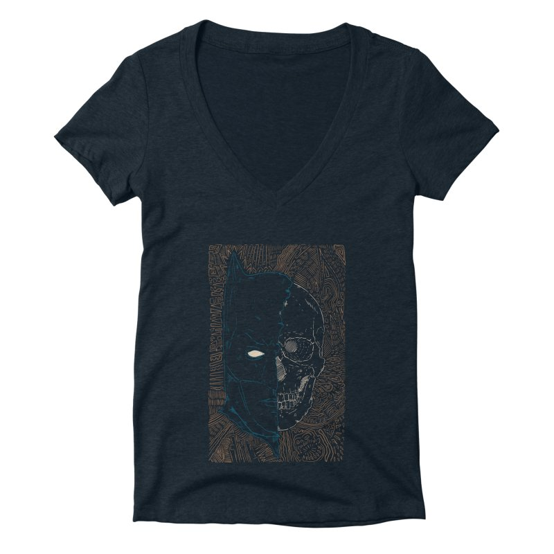 Detective Skull Women's Deep V-Neck V-Neck by Krist Norsworthy Art & Design
