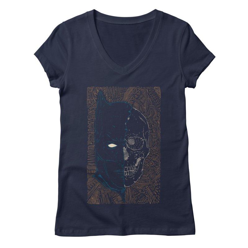 Detective Skull Women's Regular V-Neck by Krist Norsworthy Art & Design