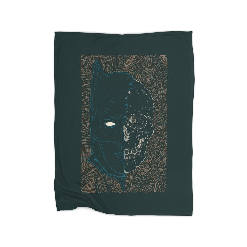 Detective Skull Home Fleece Blanket Blanket by Krist Norsworthy Art & Design