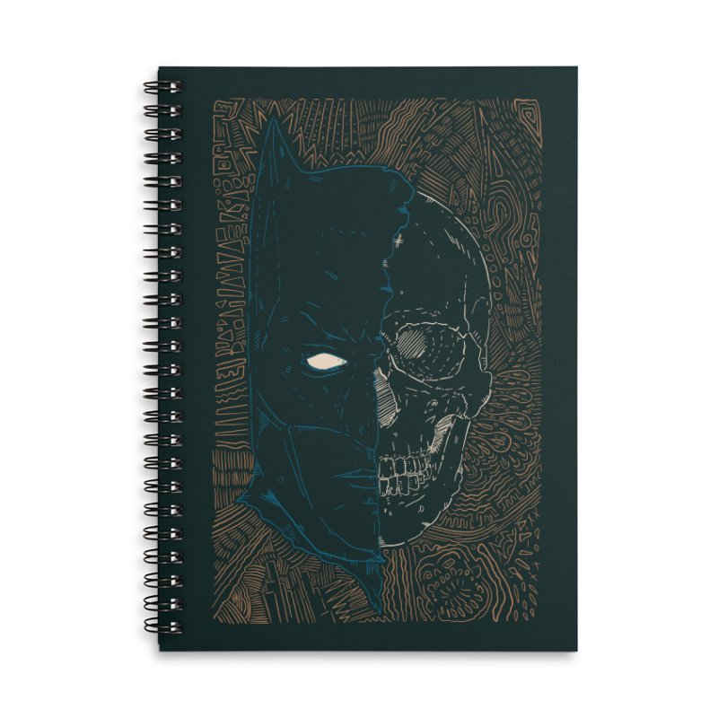 Detective Skull Accessories Lined Spiral Notebook by Krist Norsworthy Art & Design