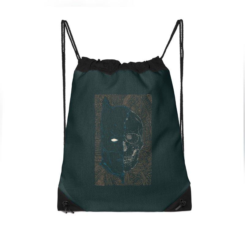 Detective Skull Accessories Drawstring Bag Bag by Krist Norsworthy Art & Design
