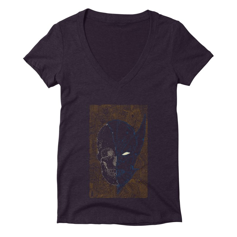 Uncanny Skull Women's Deep V-Neck V-Neck by Krist Norsworthy Art & Design