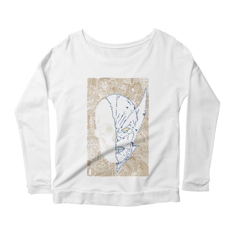 Uncanny Skull Women's Scoop Neck Longsleeve T-Shirt by Krist Norsworthy Art & Design