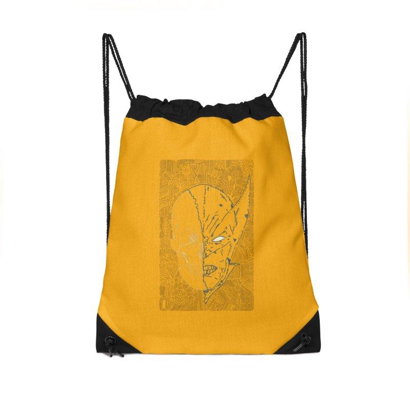 Uncanny Skull Accessories Drawstring Bag Bag by Krist Norsworthy Art & Design