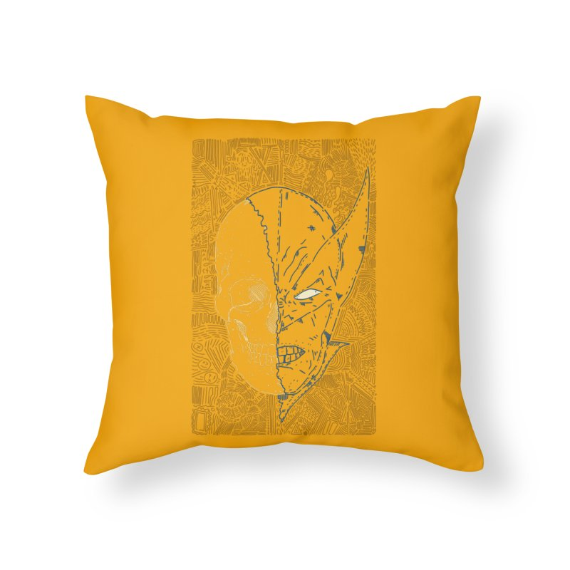 Uncanny Skull Home Throw Pillow by Krist Norsworthy Art & Design