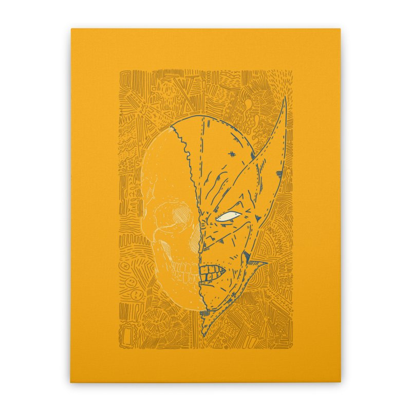 Uncanny Skull Home Stretched Canvas by Krist Norsworthy Art & Design