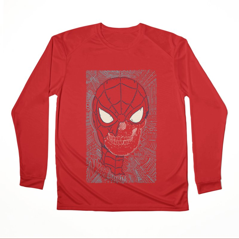 Web Slinger Skull Women's Performance Unisex Longsleeve T-Shirt by Krist Norsworthy Art & Design