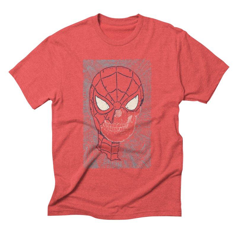 Web Slinger Skull Men's Triblend T-Shirt by Krist Norsworthy Art & Design