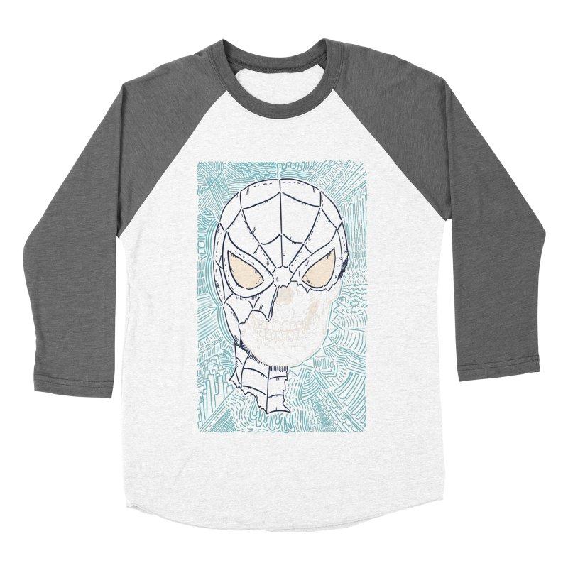 Web Slinger Skull Men's Baseball Triblend Longsleeve T-Shirt by Krist Norsworthy Art & Design