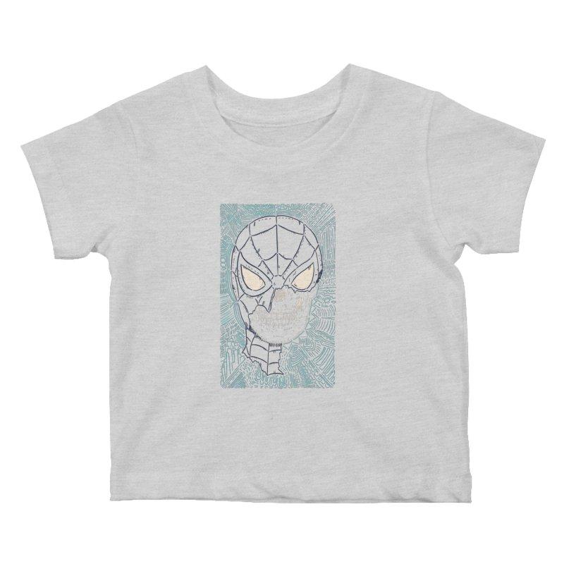 Web Slinger Skull Kids Baby T-Shirt by Krist Norsworthy Art & Design