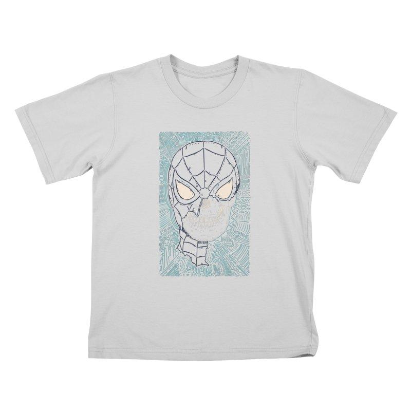 Web Slinger Skull Kids T-Shirt by Krist Norsworthy Art & Design