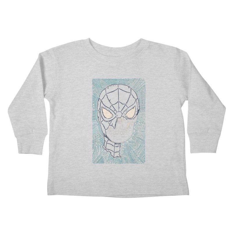 Web Slinger Skull Kids Toddler Longsleeve T-Shirt by Krist Norsworthy Art & Design