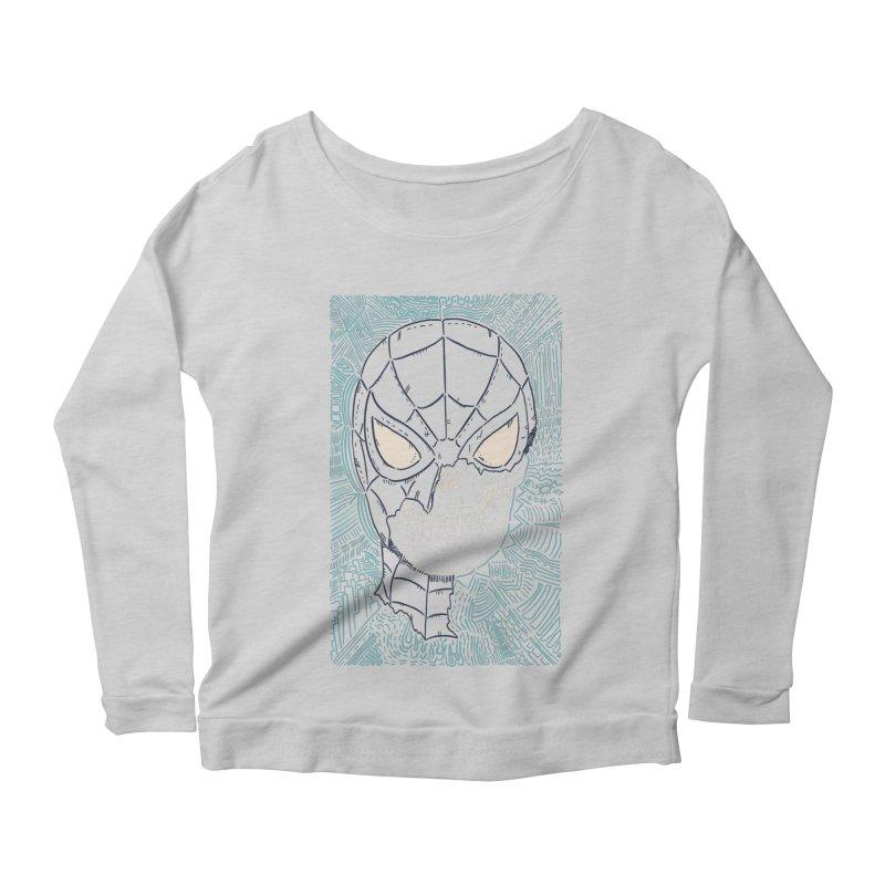 Web Slinger Skull Women's Scoop Neck Longsleeve T-Shirt by Krist Norsworthy Art & Design