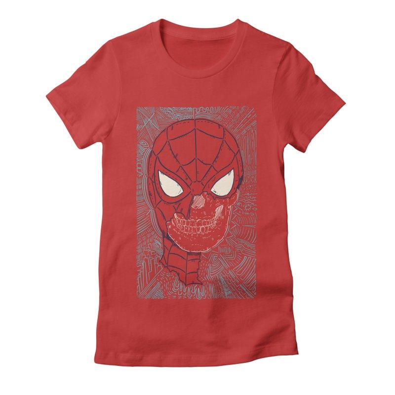 Web Slinger Skull Women's Fitted T-Shirt by Krist Norsworthy Art & Design