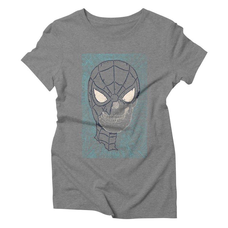 Web Slinger Skull Women's Triblend T-Shirt by Krist Norsworthy Art & Design