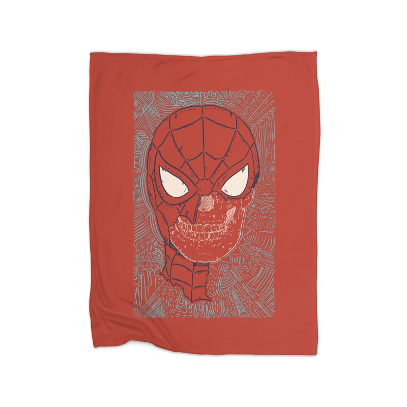 Web Slinger Skull Home Fleece Blanket Blanket by Krist Norsworthy Art & Design