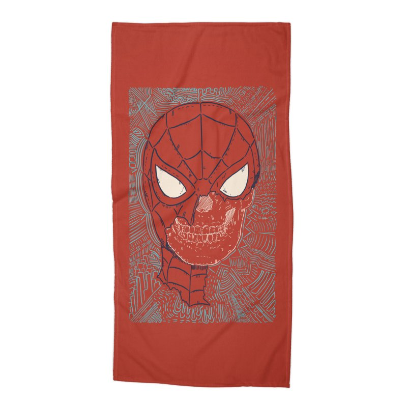 Web Slinger Skull Accessories Beach Towel by Krist Norsworthy Art & Design