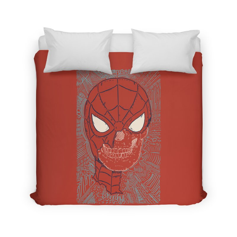 Web Slinger Skull Home Duvet by Krist Norsworthy Art & Design