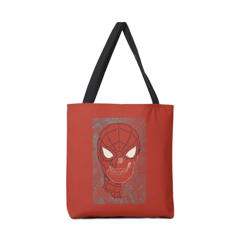 Web Slinger Skull Accessories Tote Bag Bag by Krist Norsworthy Art & Design