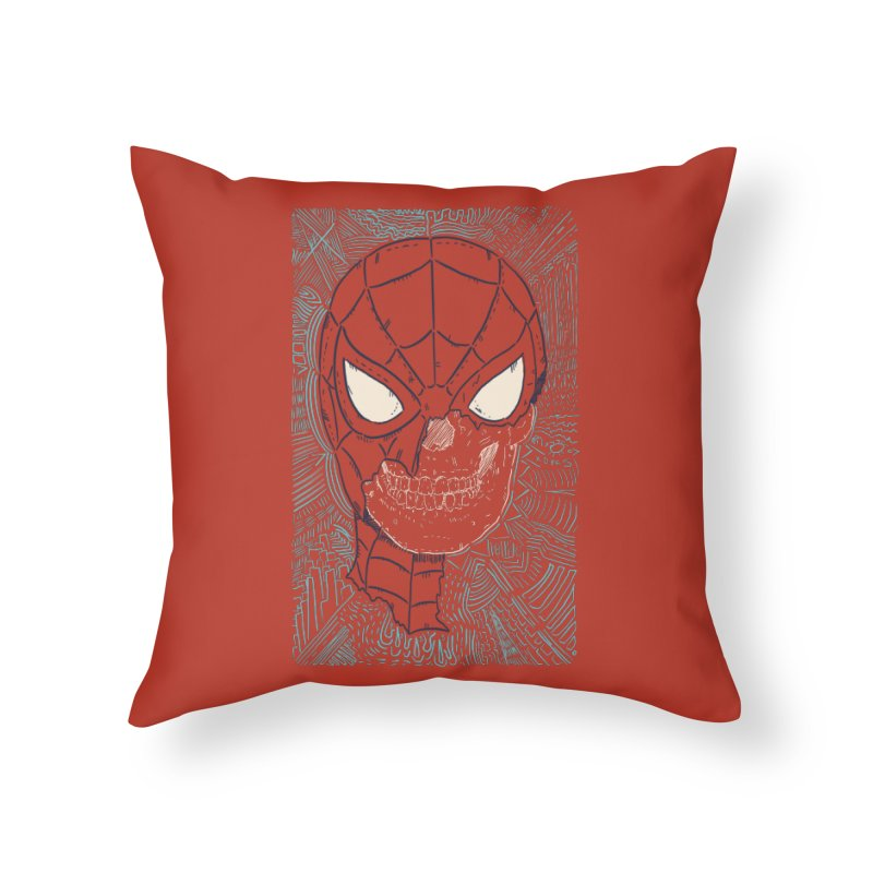 Web Slinger Skull Home Throw Pillow by Krist Norsworthy Art & Design