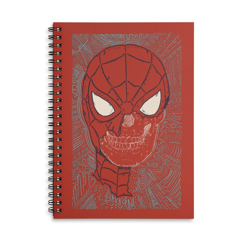 Web Slinger Skull Accessories Lined Spiral Notebook by Krist Norsworthy Art & Design