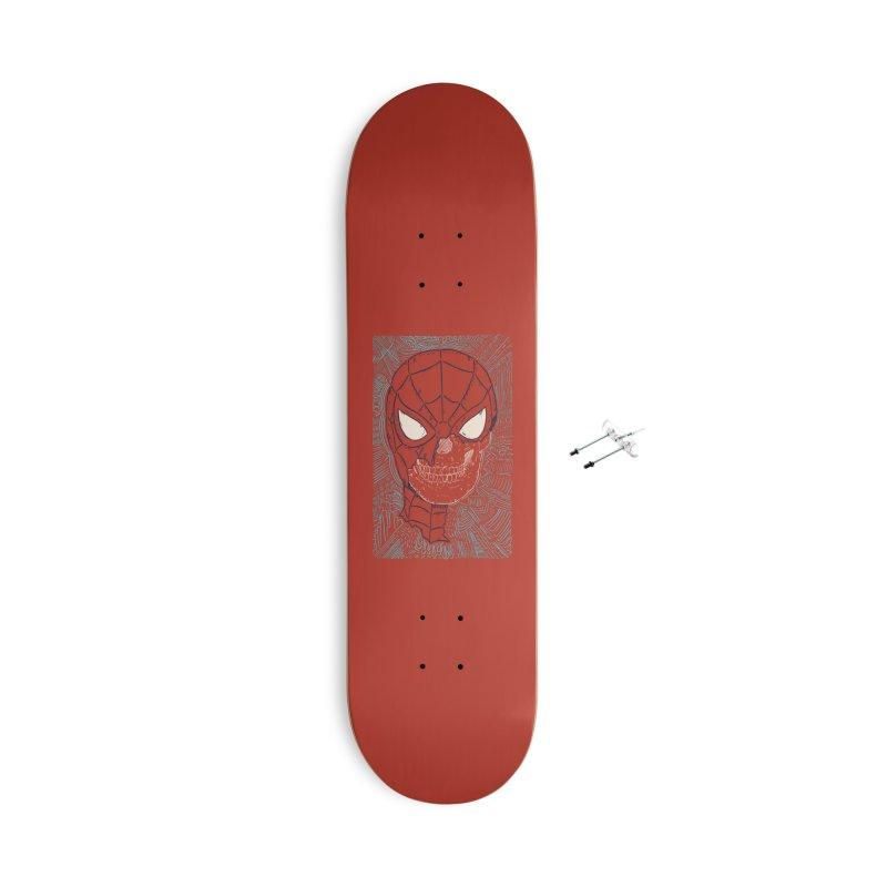 Web Slinger Skull Accessories With Hanging Hardware Skateboard by Krist Norsworthy Art & Design