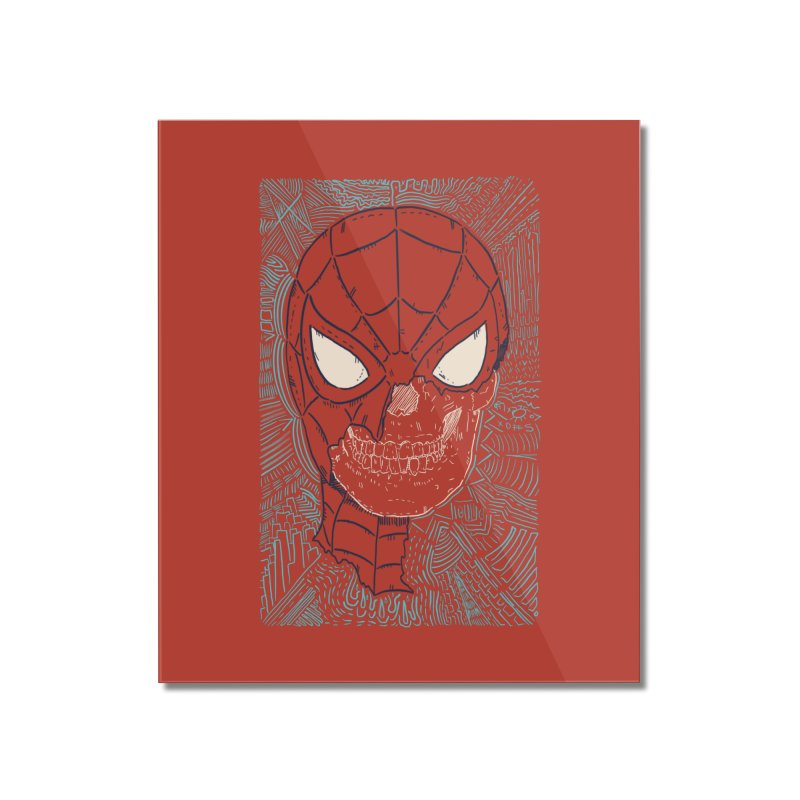 Web Slinger Skull Home Mounted Acrylic Print by Krist Norsworthy Art & Design