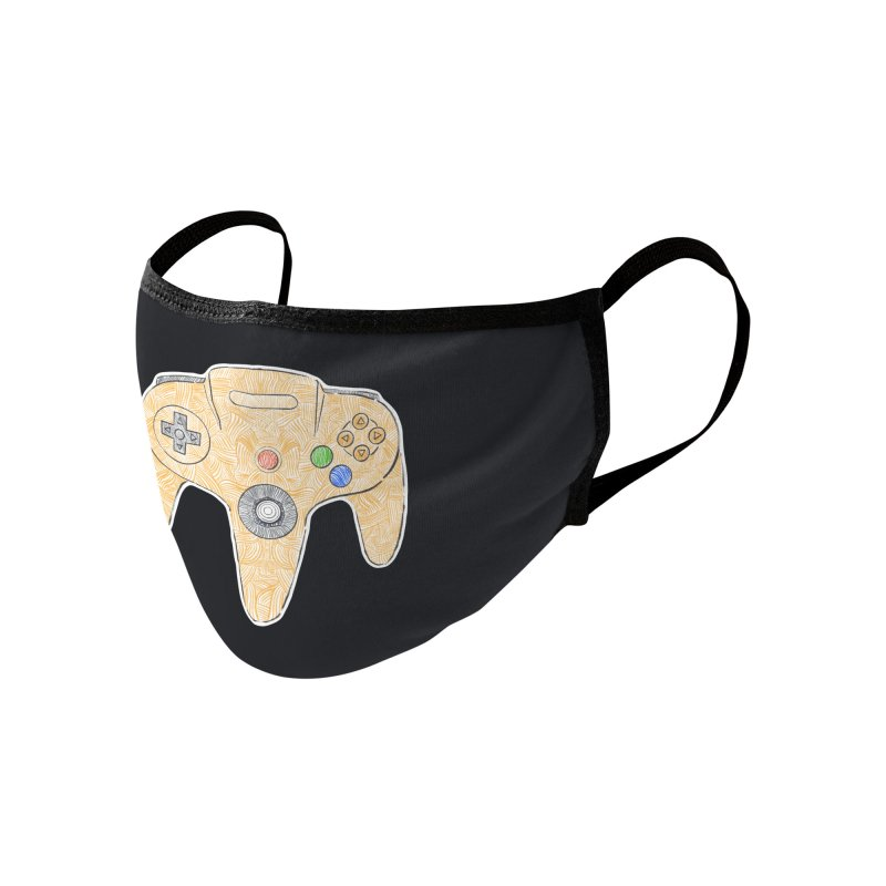 Gamepad SixtyFour - Yellow Accessories Face Mask by Krist Norsworthy Art & Design
