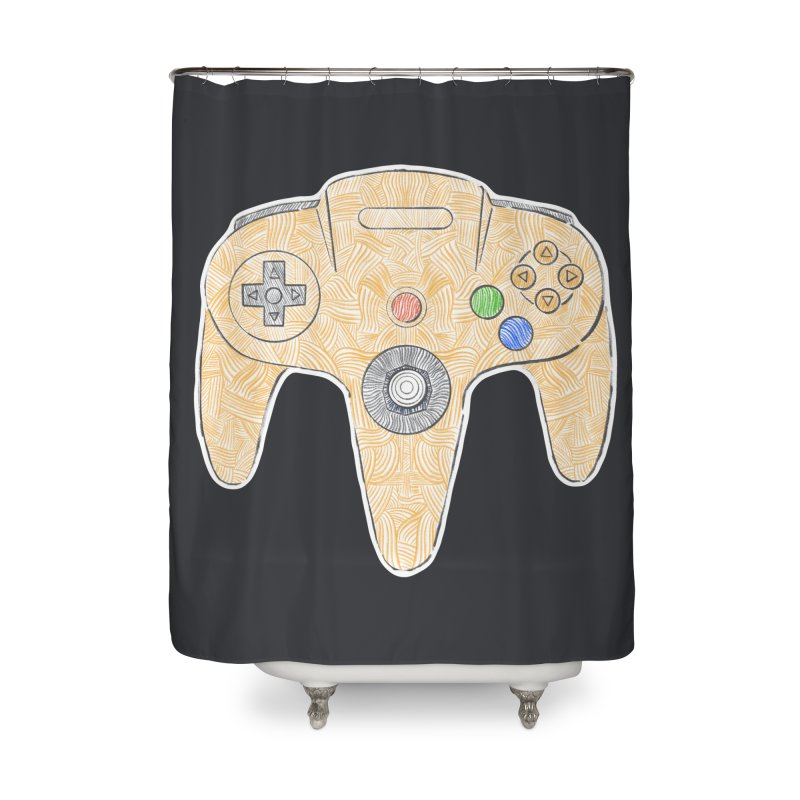 Gamepad SixtyFour - Yellow Home Shower Curtain by Krist Norsworthy Art & Design