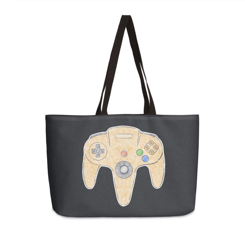 Gamepad SixtyFour - Yellow Accessories Weekender Bag Bag by Krist Norsworthy Art & Design