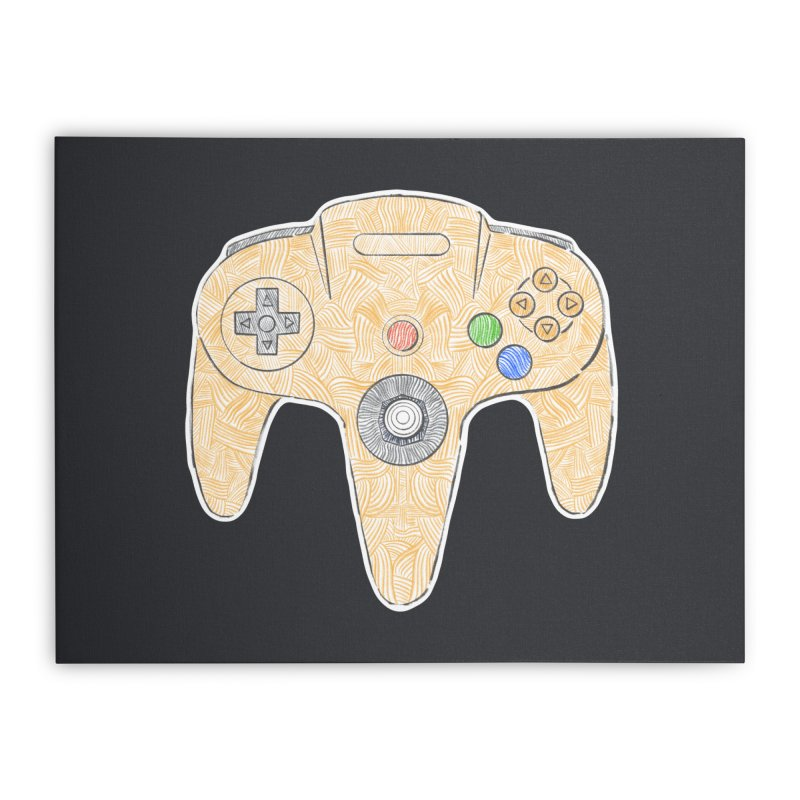 Gamepad SixtyFour - Yellow Home Stretched Canvas by Krist Norsworthy Art & Design