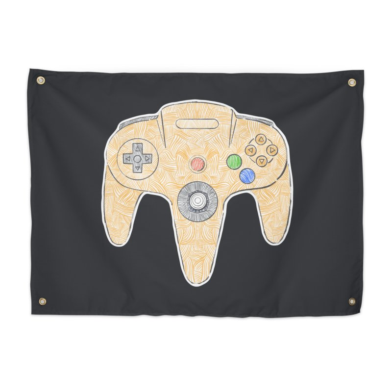 Gamepad SixtyFour - Yellow Home Tapestry by Krist Norsworthy Art & Design