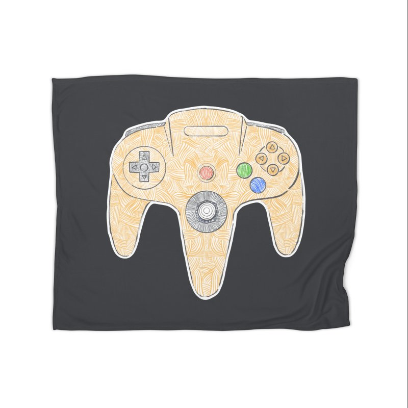 Gamepad SixtyFour - Yellow Home Fleece Blanket Blanket by Krist Norsworthy Art & Design