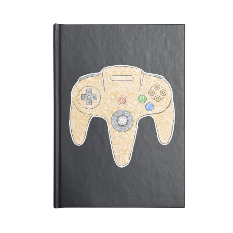 Gamepad SixtyFour - Yellow Accessories Blank Journal Notebook by Krist Norsworthy Art & Design