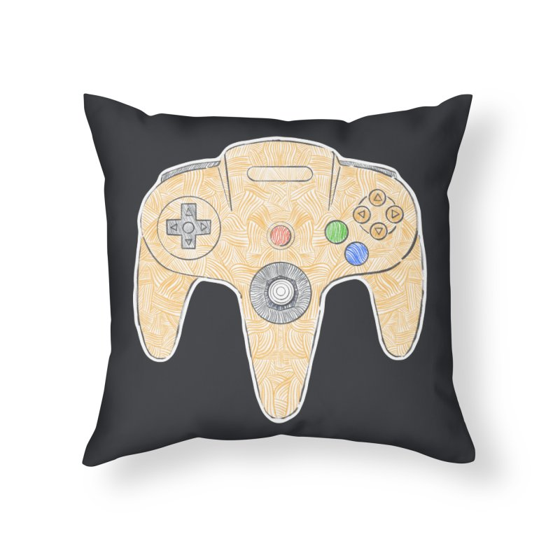 Gamepad SixtyFour - Yellow Home Throw Pillow by Krist Norsworthy Art & Design