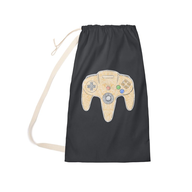 Gamepad SixtyFour - Yellow Accessories Laundry Bag Bag by Krist Norsworthy Art & Design