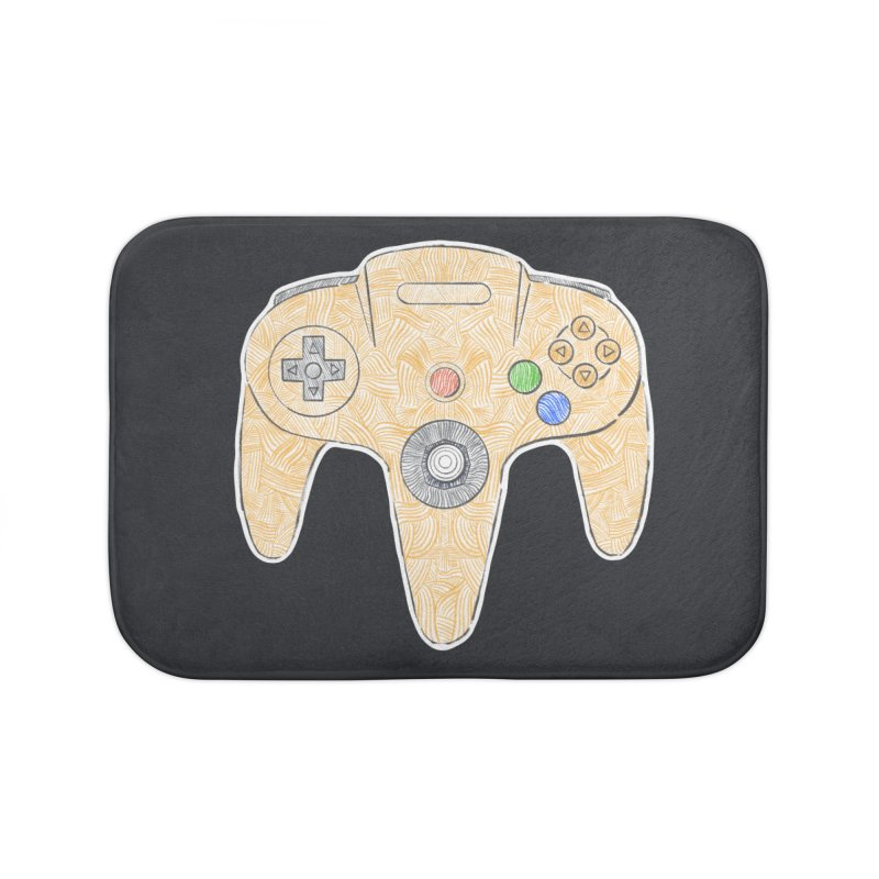 Gamepad SixtyFour - Yellow Home Bath Mat by Krist Norsworthy Art & Design