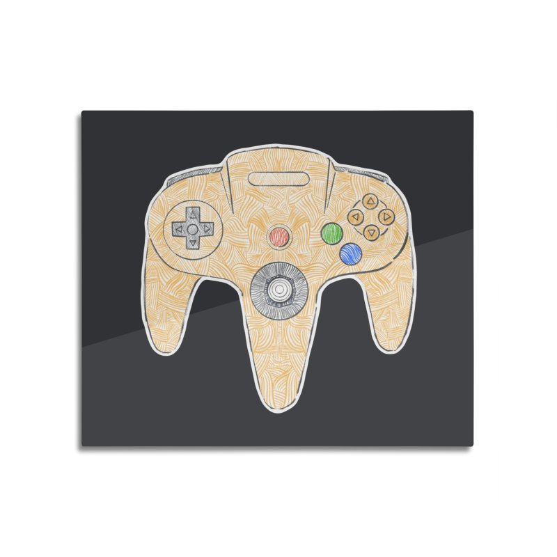 Gamepad SixtyFour - Yellow Home Mounted Aluminum Print by Krist Norsworthy Art & Design
