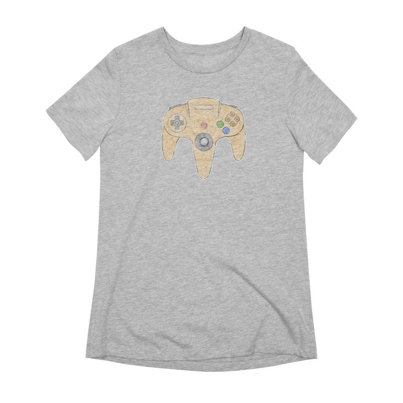 Gamepad SixtyFour - Yellow Women's Extra Soft T-Shirt by Krist Norsworthy Art & Design