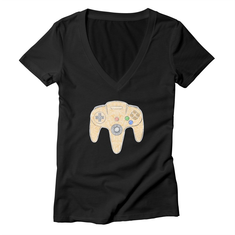 Gamepad SixtyFour - Yellow Women's Deep V-Neck V-Neck by Krist Norsworthy Art & Design