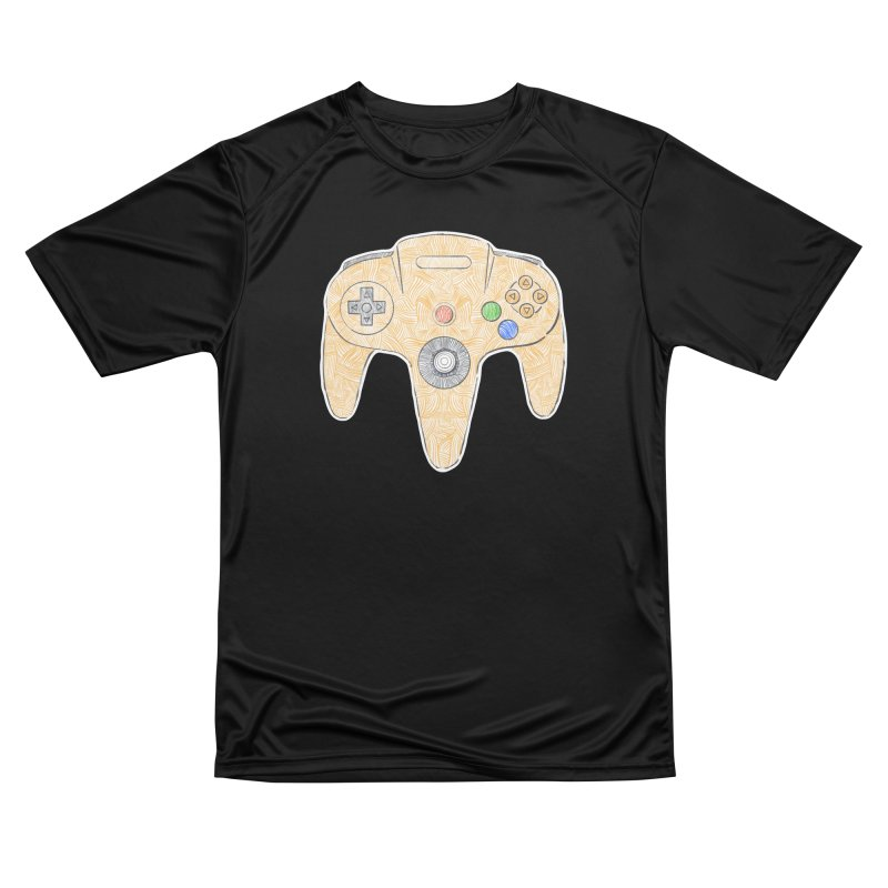 Gamepad SixtyFour - Yellow Men's Performance T-Shirt by Krist Norsworthy Art & Design
