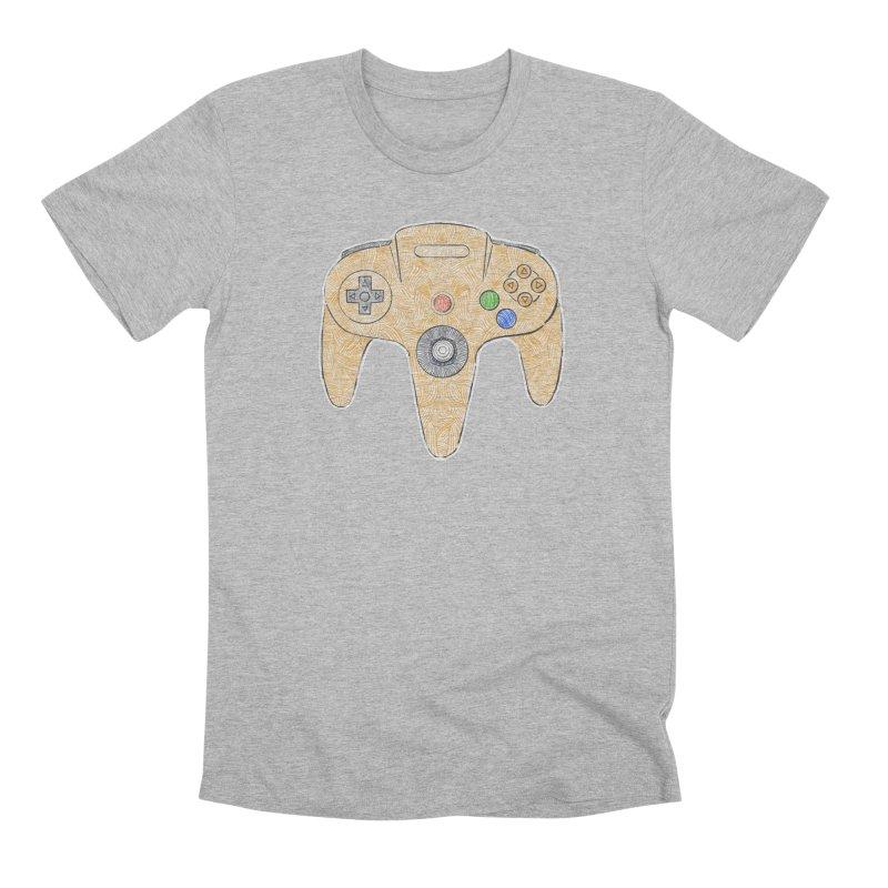 Gamepad SixtyFour - Yellow Men's Premium T-Shirt by Krist Norsworthy Art & Design