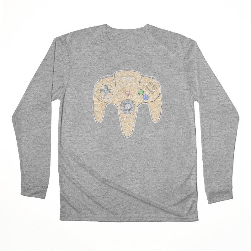 Gamepad SixtyFour - Yellow Men's Performance Longsleeve T-Shirt by Krist Norsworthy Art & Design